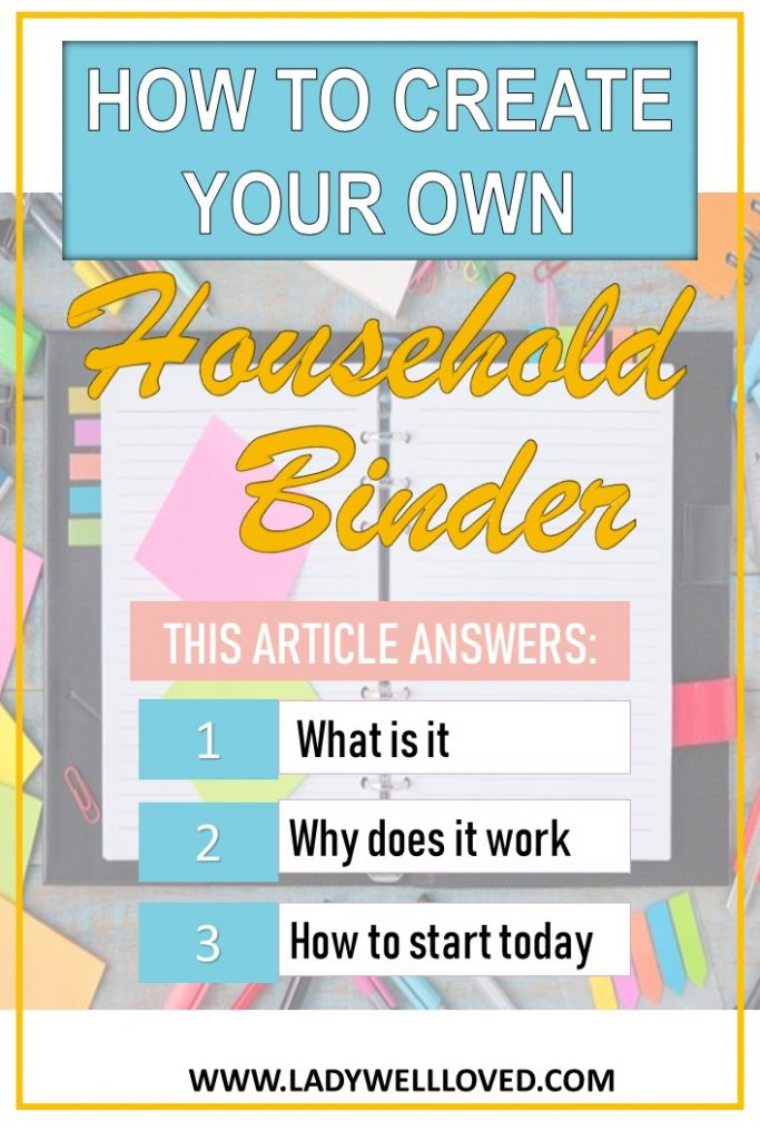 household binder. How to create a household binder. how to start a housebold binder. Household binder for beginners.